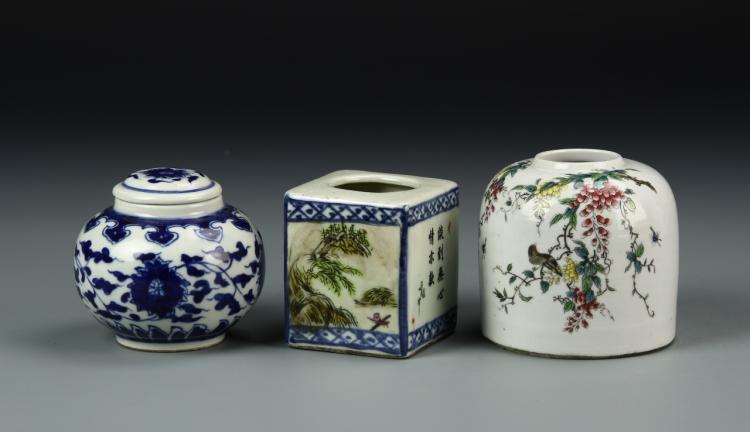 Three Chinese Jars and Two Water Cups