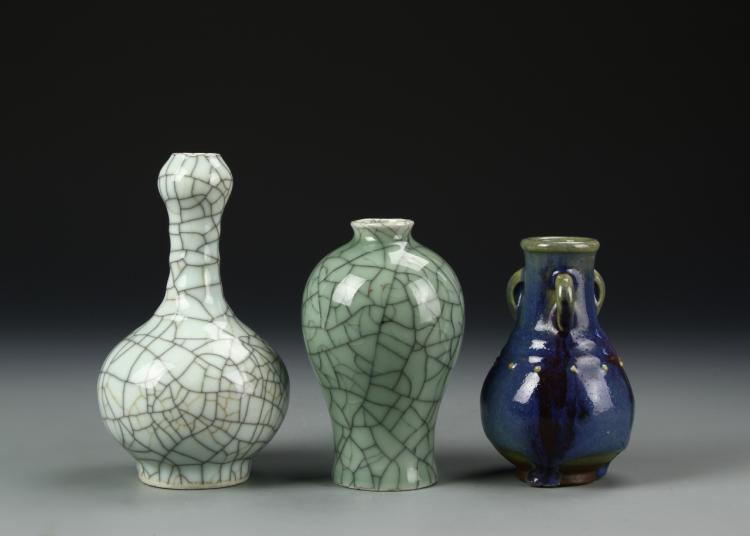 Chinese Two Geyao Vase And One Jun Yao Vase