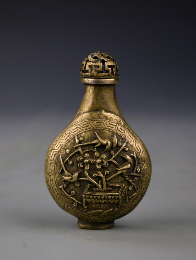 Three Chinese Brass Snuff Bottle and Snuff Box