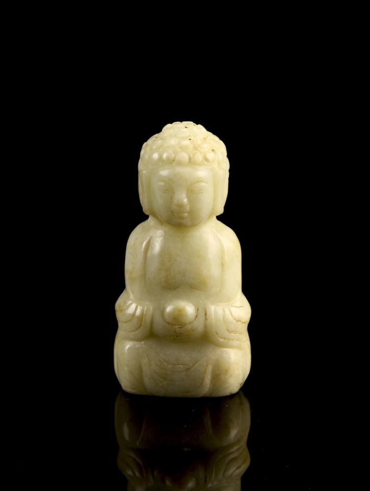 Chinese Antique Jade Tri Face Buddha