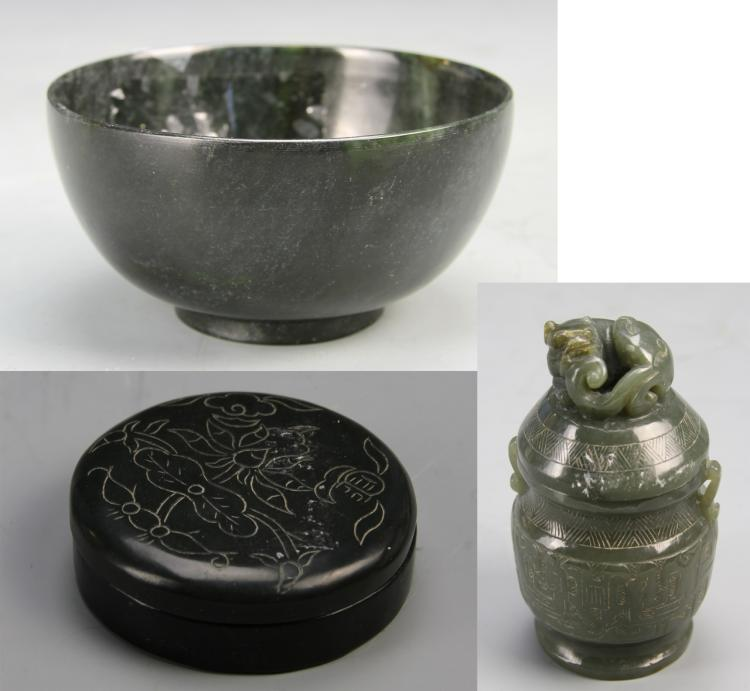 Chinese Carved Jade Covered Jar, Bowl, and Box