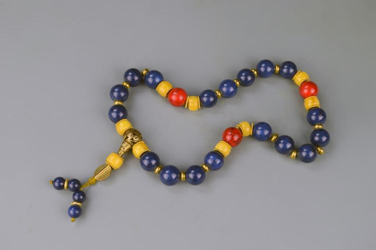 Chinese Lapis Beaded Prayer's Bead
