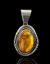 Chinese Silver Amber Pendent