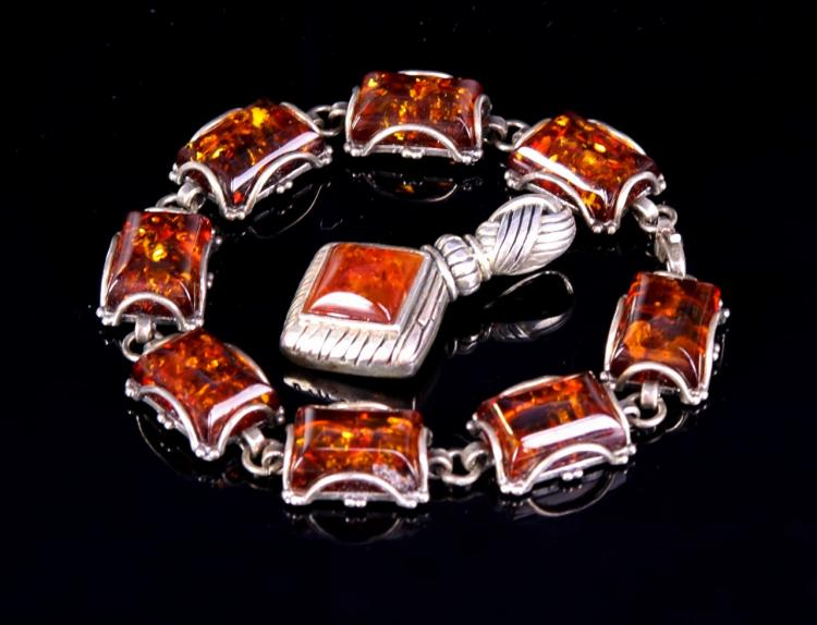Chinese Silver and Amber Bracelet