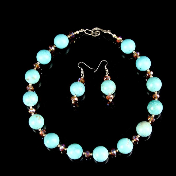 Chinese Turquoise Beaded Necklace and Earrings