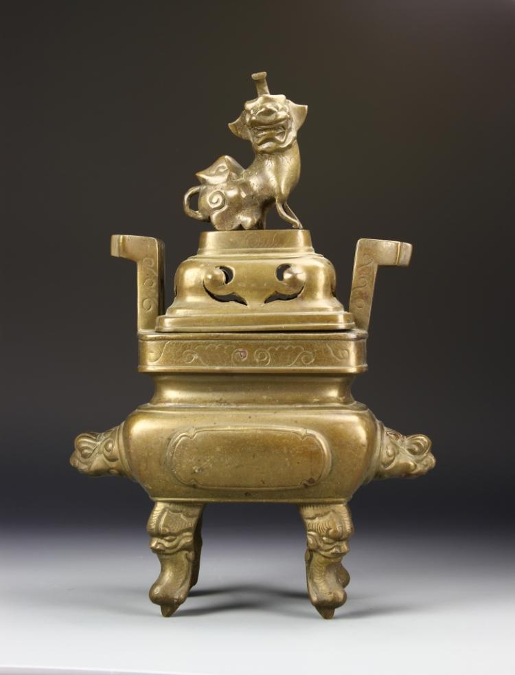 Chinese Brass Censer with Cover