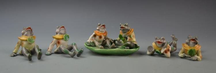 Six Japanese Frog Figurines