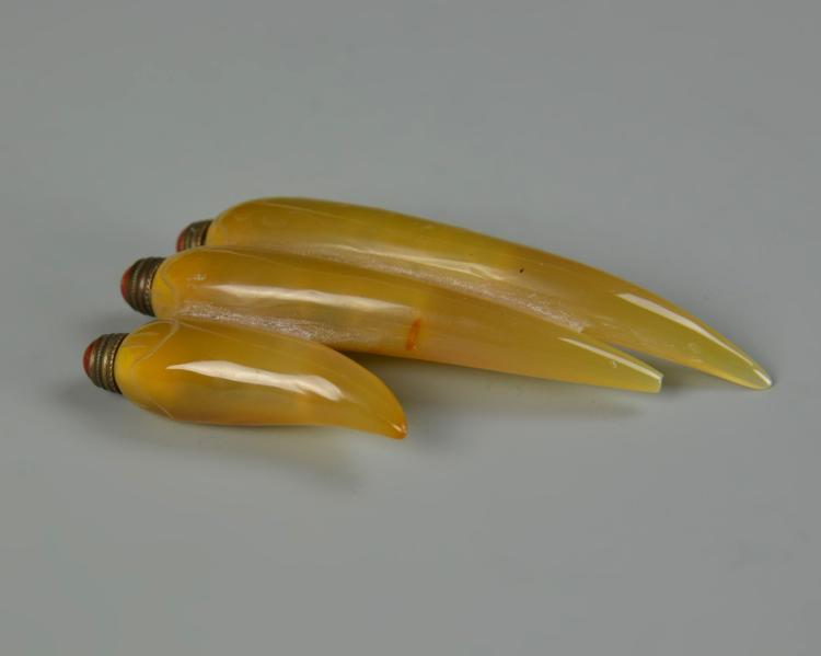 Three Chinese Attached Agate Snuff Bottles