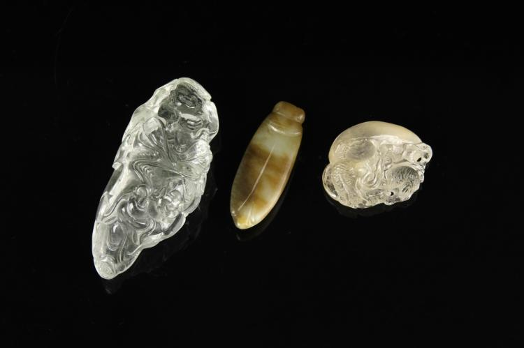 Chinese Crystal and Two Jade Pendants