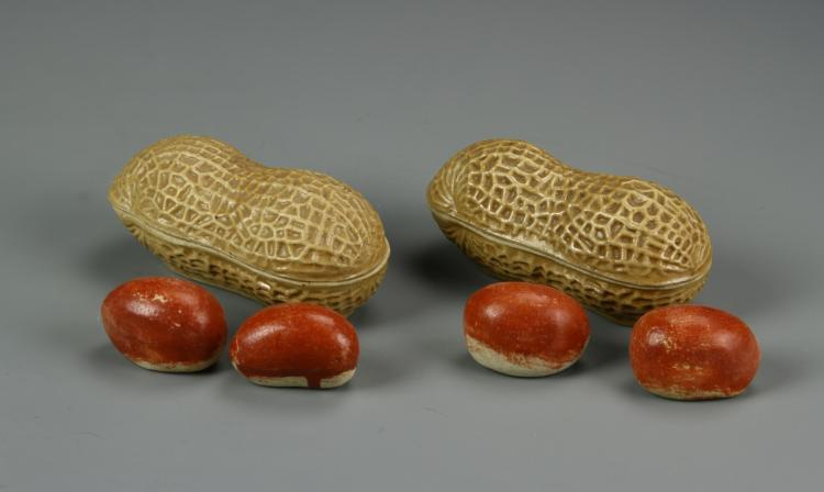 Chinese Pair Of Porcelain Peanuts