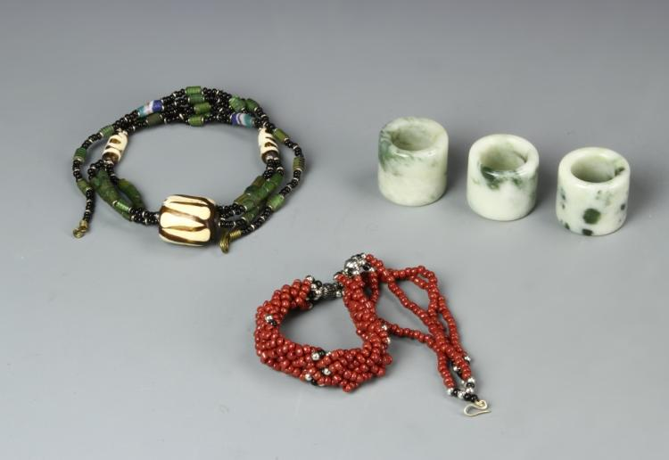 Three Chinese Jade Thumb Rings & Two Necklaces
