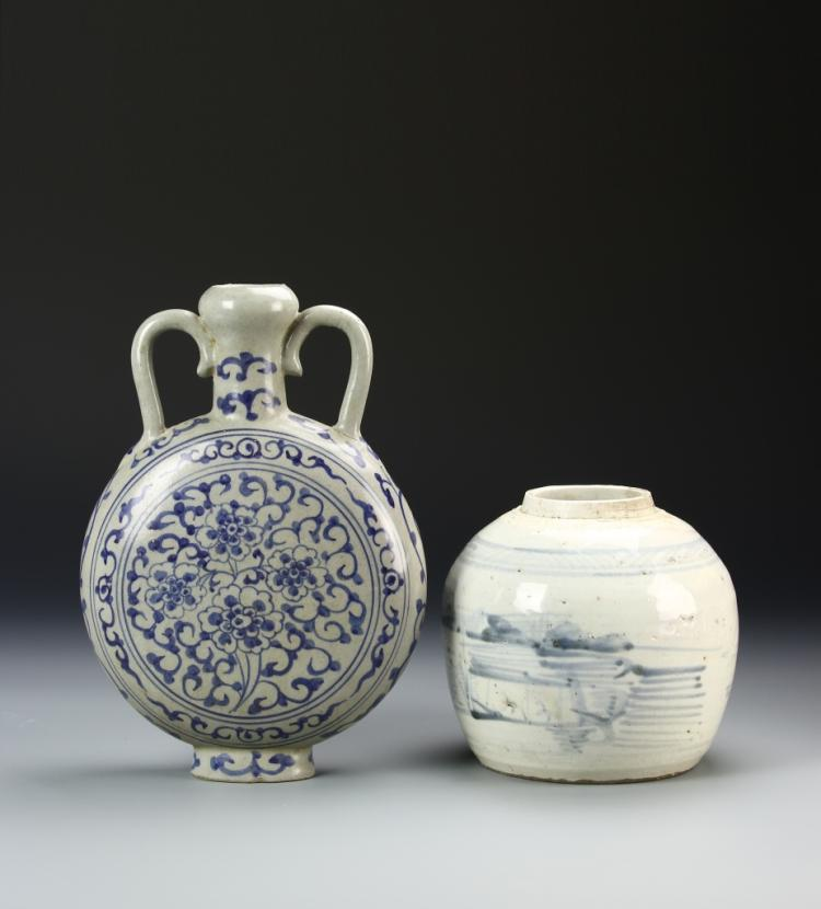Chinese Blue and White Export Vase and Jar