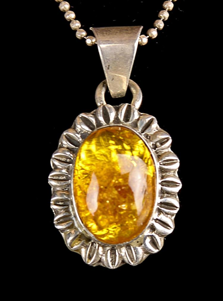 Vintage Silver and Amber Necklace and Pendant