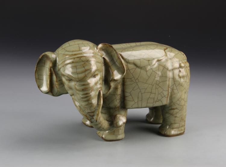Chinese Antique Ge Yao Ware Elephant