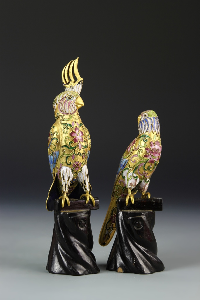 Chinese Cloisonne Parrots
