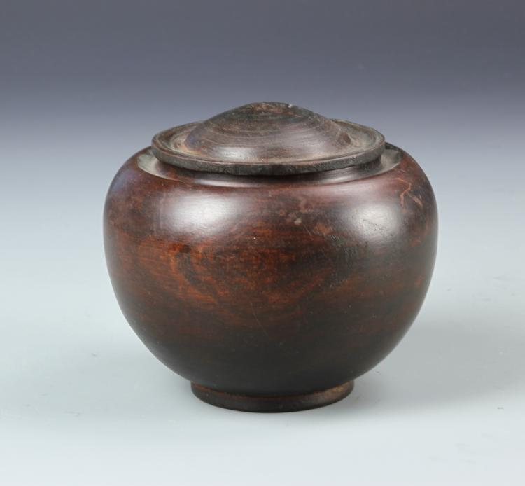 Chinese Hardwood Carved Jar