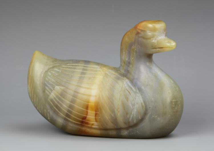 Chinese Carved Agate Duck