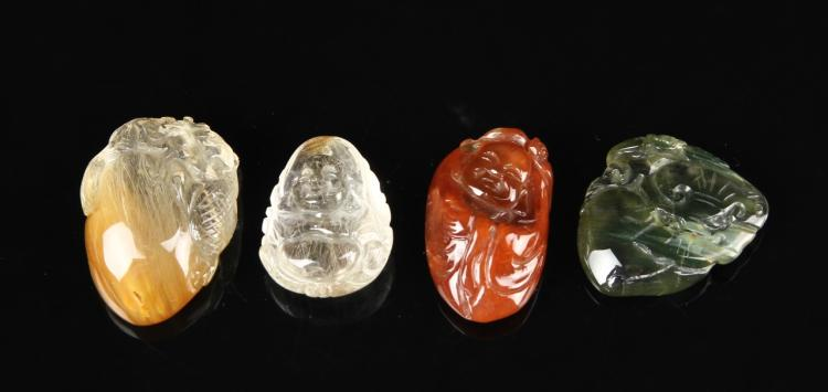 Four Chinese Crystal Pendants