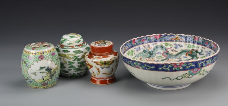 Four Chinese and Japanese Famille Rose Items