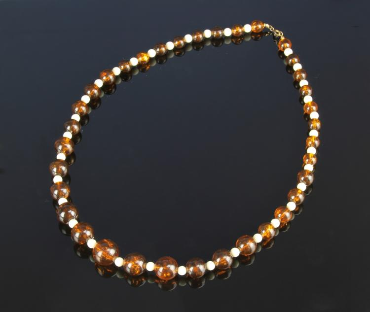 Chinese Reconstituted Amber Necklace