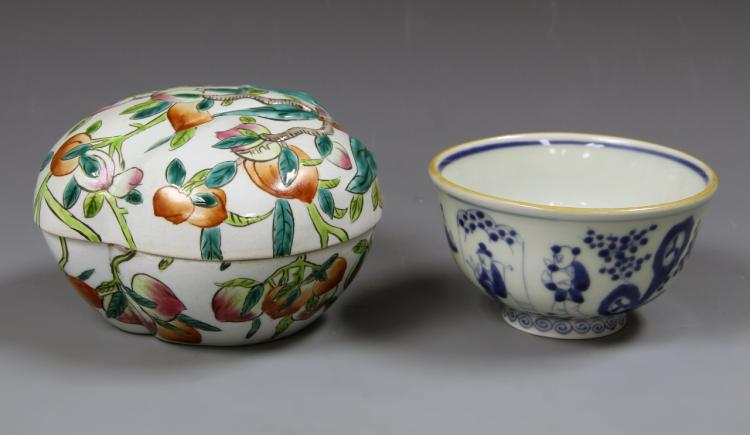 Chinese Famille Rose Box and Blue and White Bowl