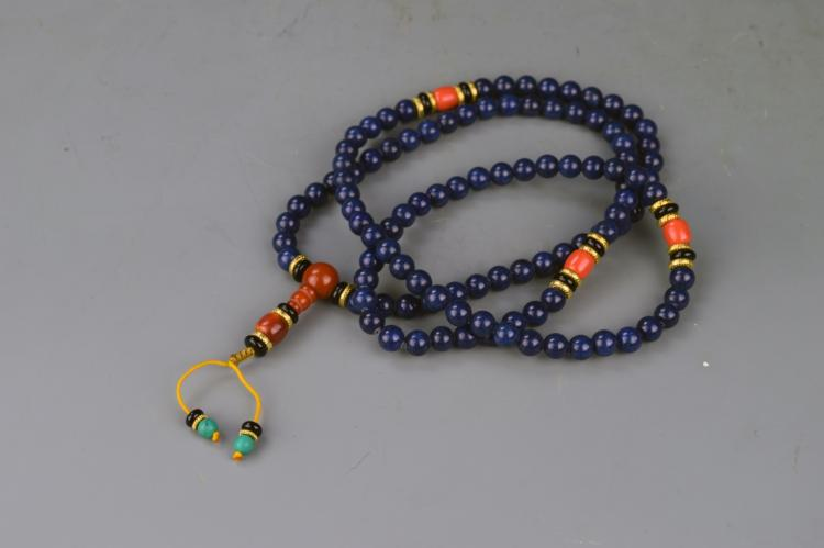 Chinese Tibetan Lapis Prayer's Beads