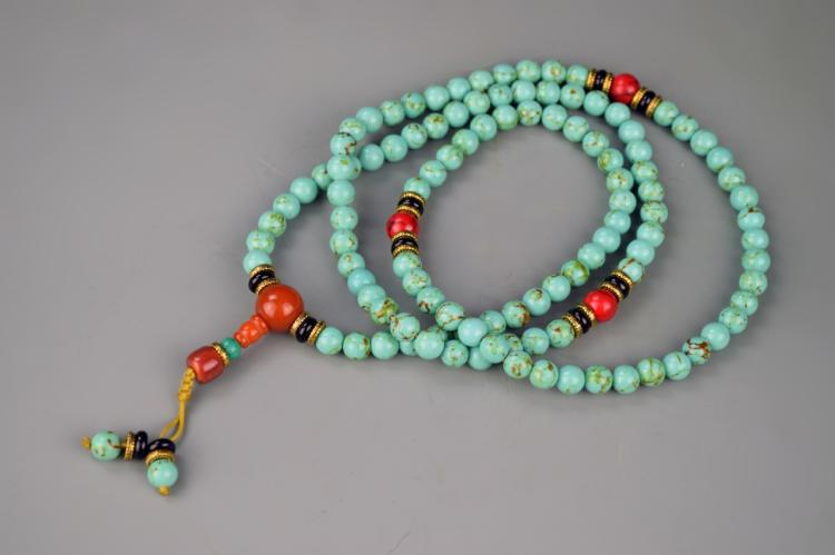 Chinese Tibetan Turquoise Prayer Beads
