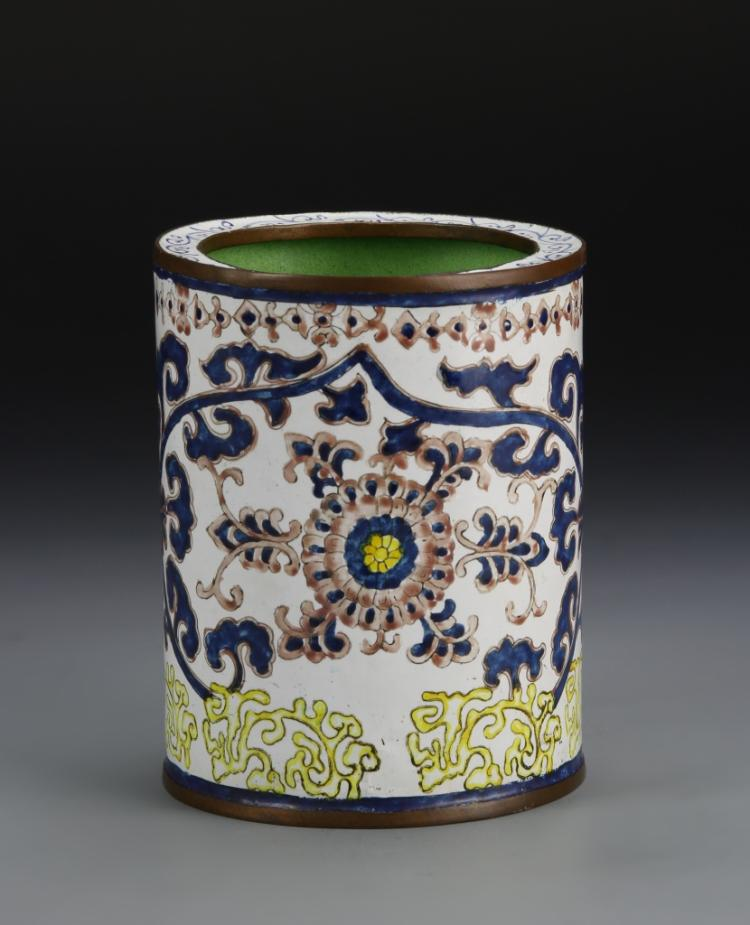 Chinese Enameled Bronze Brush Pot