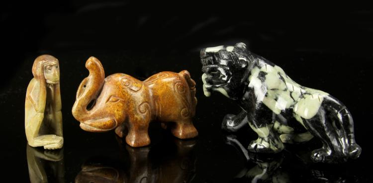 Three Chinese Soap Stone Animals