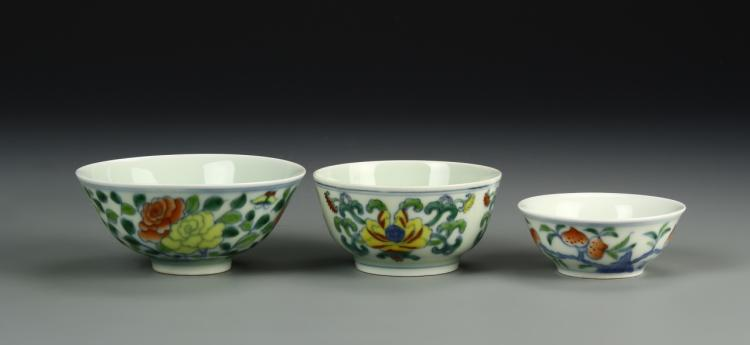 Chinese Three Famille Rose Bowls