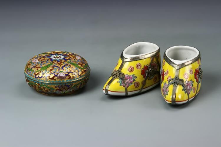 Chinese Cloisonne Box and Famille Rose Shoes