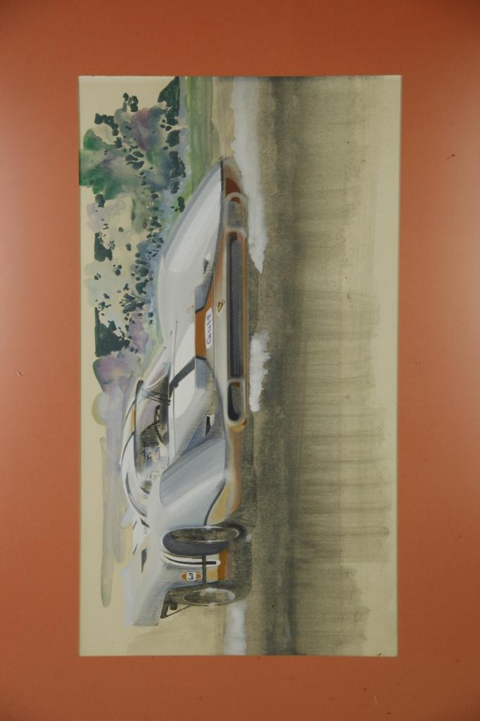 Original Water Color And Auache Race Car Painting