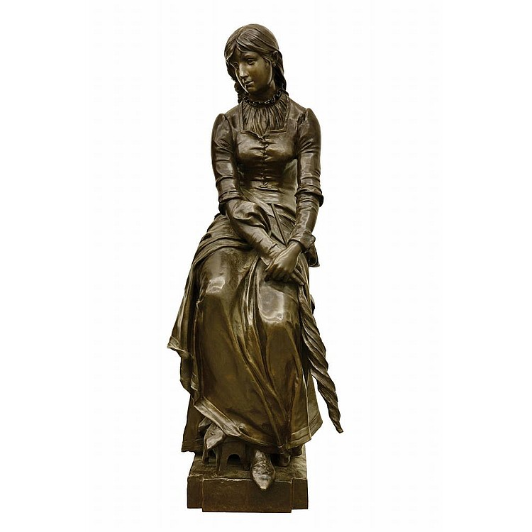 MARIOTON Eugene(1854-1925) A BRONZE FIGURE OF LADY