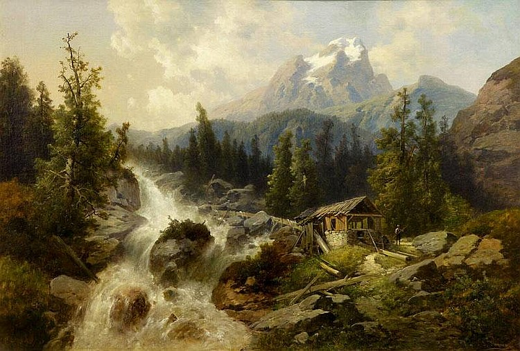 ARTIST: Josef Thoma(1828~1899) TITLE: THE HUT IN