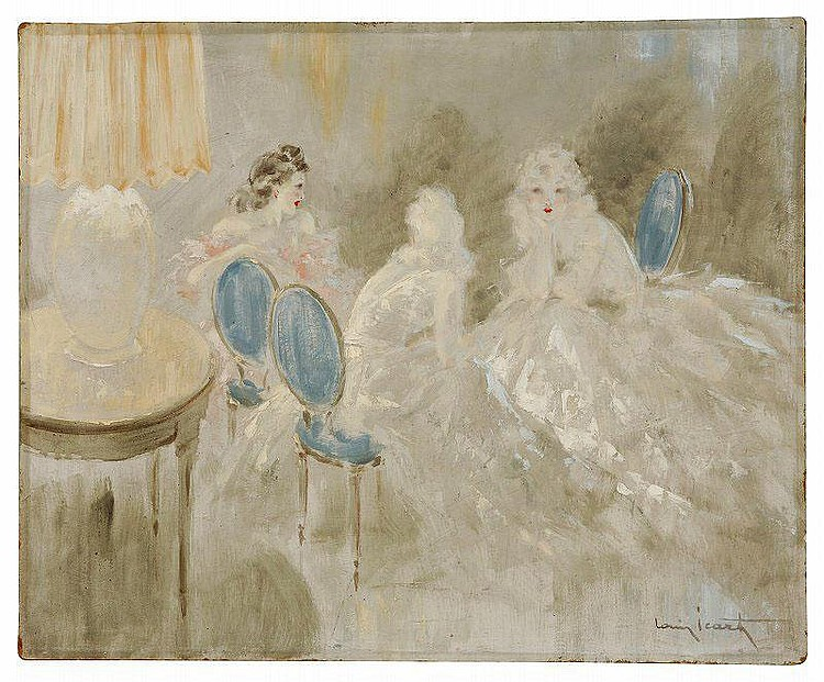 Louis Icart  (1888-1950): BLUE CHAIR