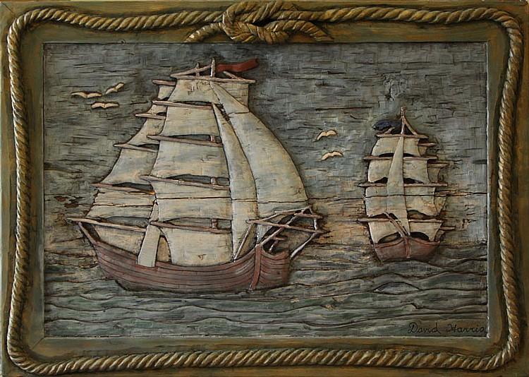David harris american large wood carved hand painted nauti