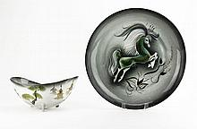 Large Sascha Brastoff Modern Porcelain Platter along with a Footed Bowl. Chip to Rim on Footed Bowl, Nick to Rim on Large Platter or else Good Condition. Measures 15-1/4