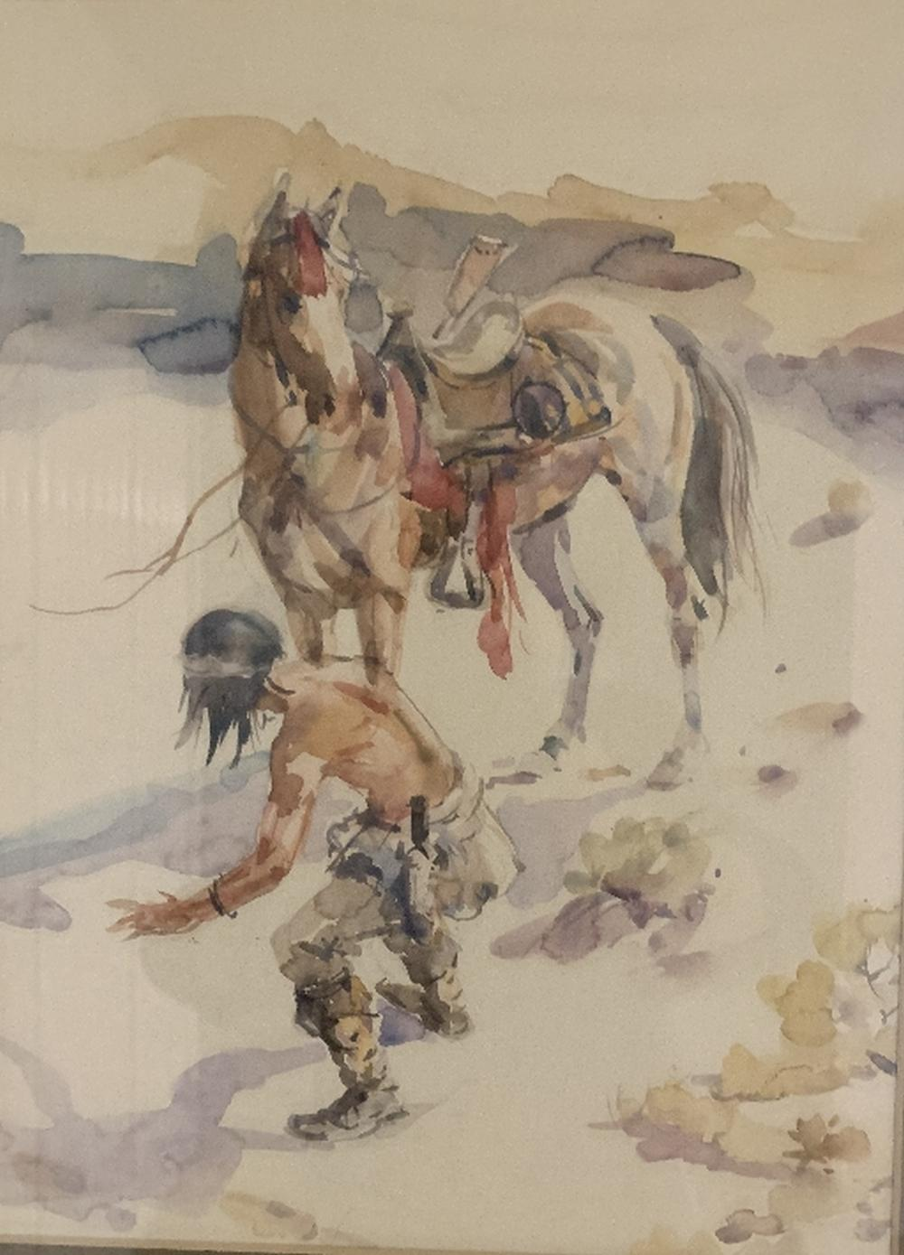 Sold Price Native Indian And Horse Manner Of Charles Marion Russell Watercolor Invalid Date Pdt