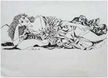 Menachem Gueffen: reclining nude with a robe / Israeli/British/French realism