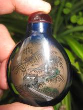 Chinese antique snuff black bottle: Great Wall of China