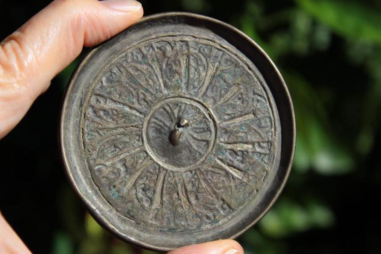 Genuine Islamic Persian bronze mirror, 8 cm, circa 1000-1100 AD,