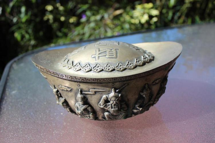 Antique Chinese silver(?) boat money with 2 dragons, 5 figures & characters