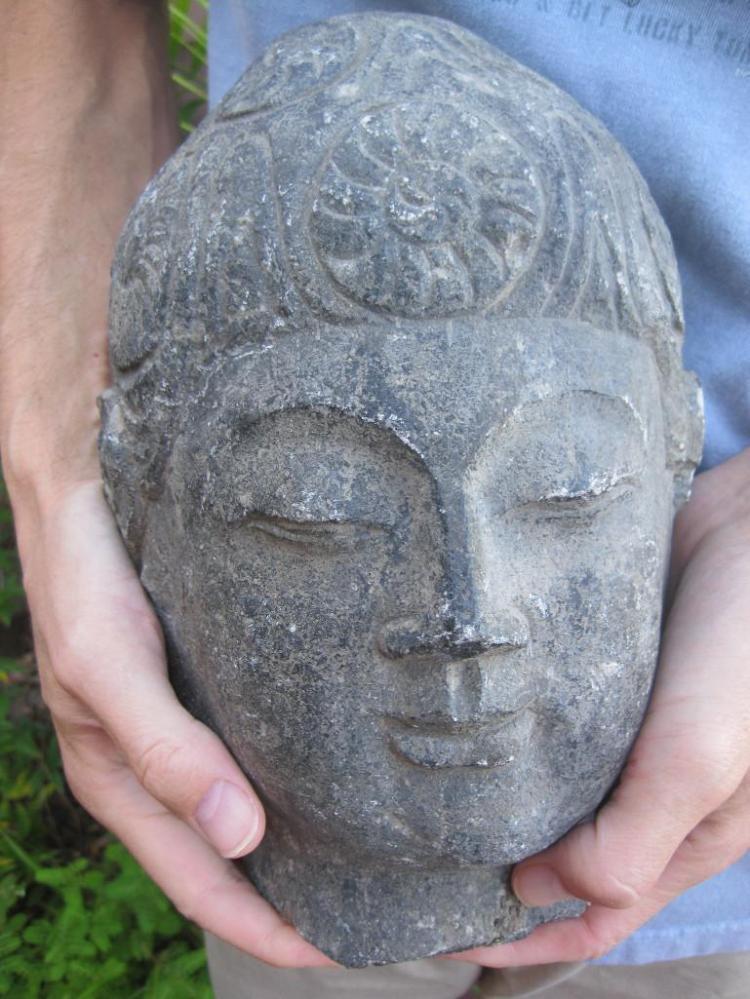 Chinese stone Buddha Head, 7 wheels of life, Tang dynasty