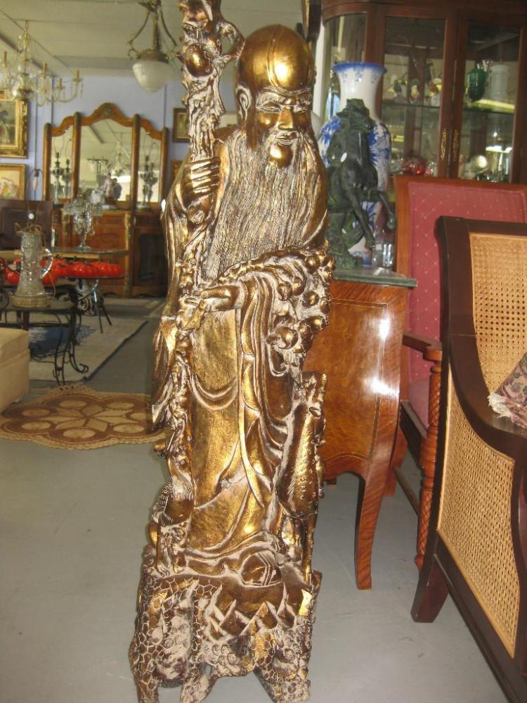 Chinese carved wooden gilt statue of immortal Shou Xin, 51 in, 130 lb.