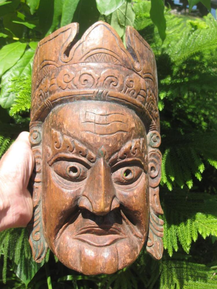 Carved Wooden Buddhist Tibetan Lama Mask, 31 cm
