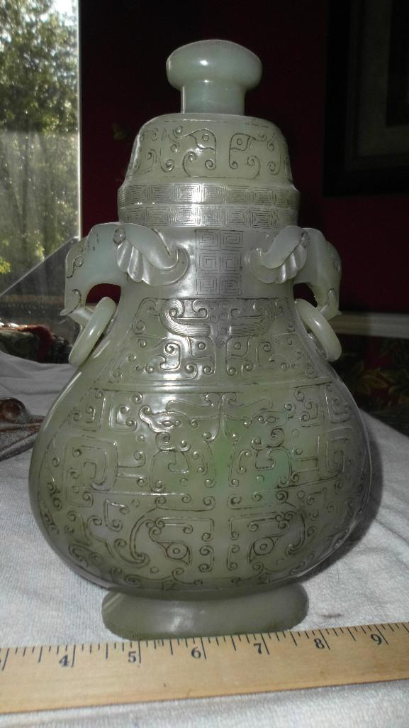 Certified Qing/Ming dynasty Chinese jade spinach vase, 26 cm
