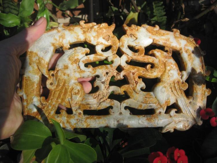 Certified Chinese W Zhou dynasty jade plaque: Gemstones, Dragons & Phoenix