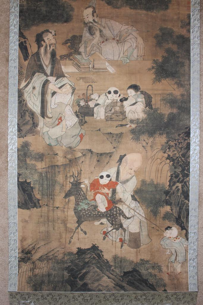 Qing/Ming Chinese scroll painting, 3 Dao Gods, after Wang Wenwei