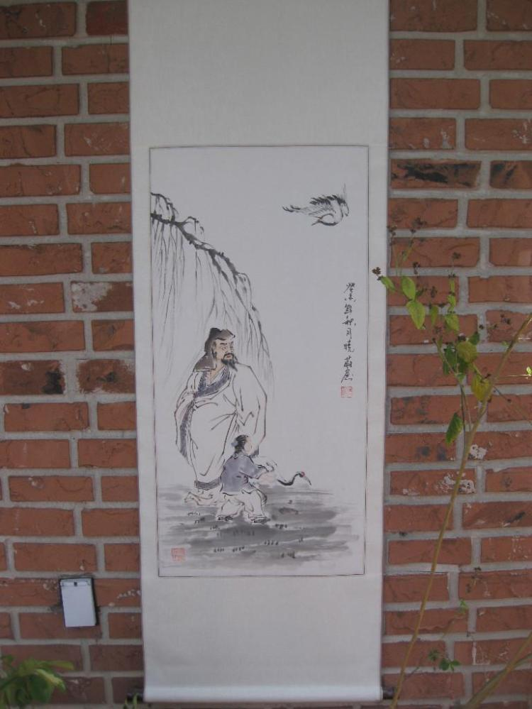Ancient people & crane, Chinese hanging scroll 175cm