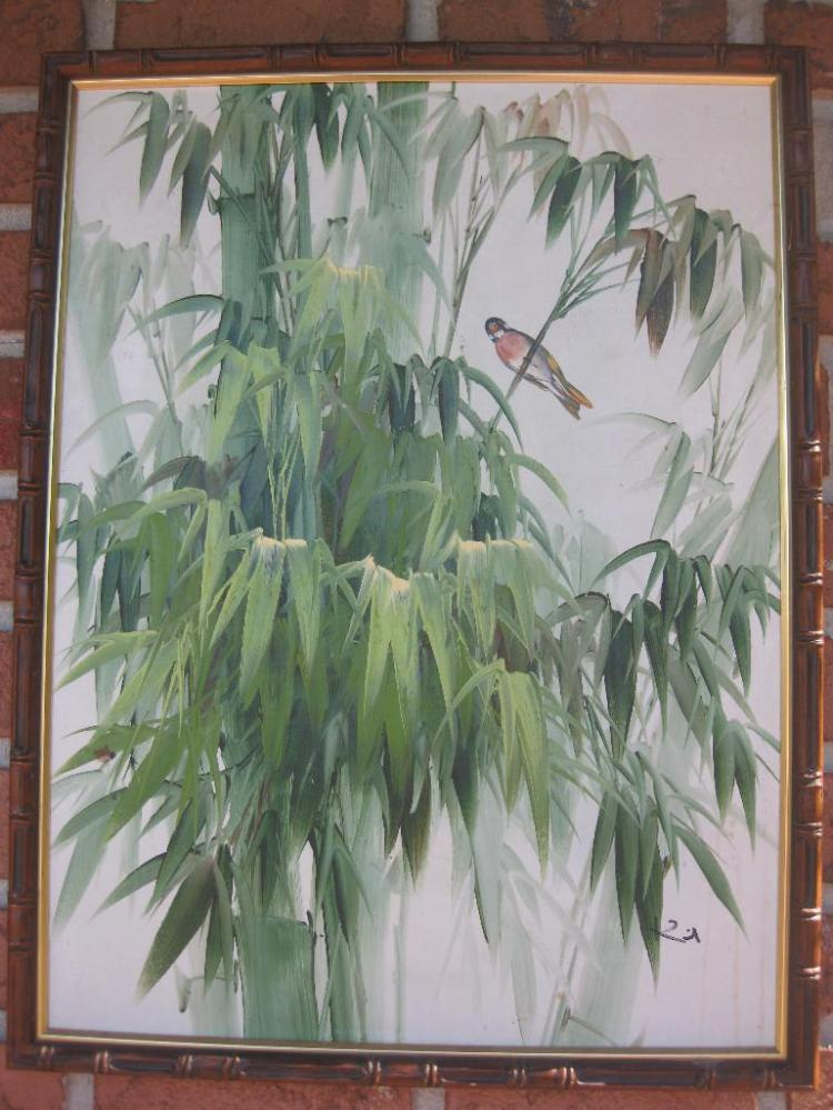 Oil painting on board, - Bamboo & bird; framed 65x50 cm